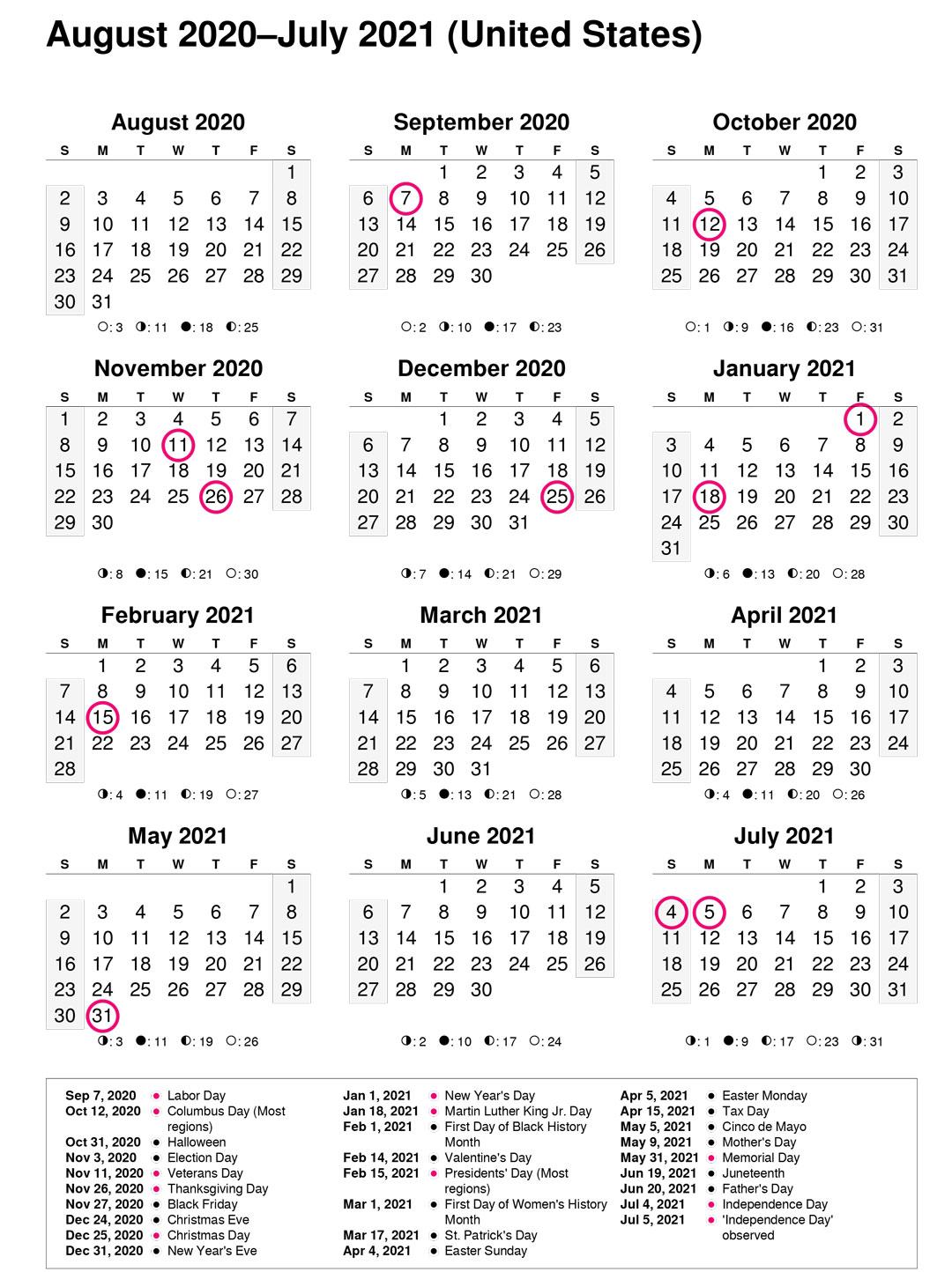 تقویم میلادی 2020-2021
